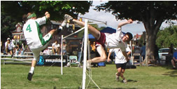 John Leys jousts JF Lemieux at the 2006 Harrisburg Funtastik Summer Classic Footbag tournament, photo by Yves Archambault from ProKicker
