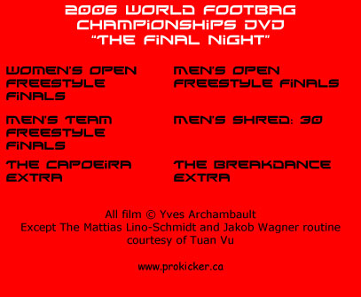 2006 World Footbag Championships Freestyle Night Dvd back cover